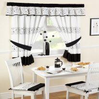 Черно-белые кухонные шторы