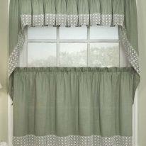 Оливковые шторы для кухни