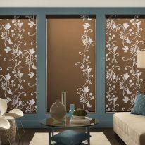 Рулонні штори з листяним візерунком
